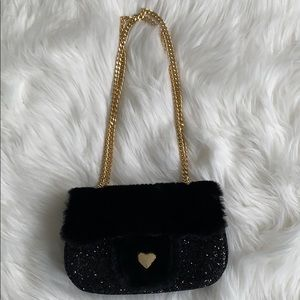 Other - Girls Fuzzy & sparkle black bag with gold chainNEW